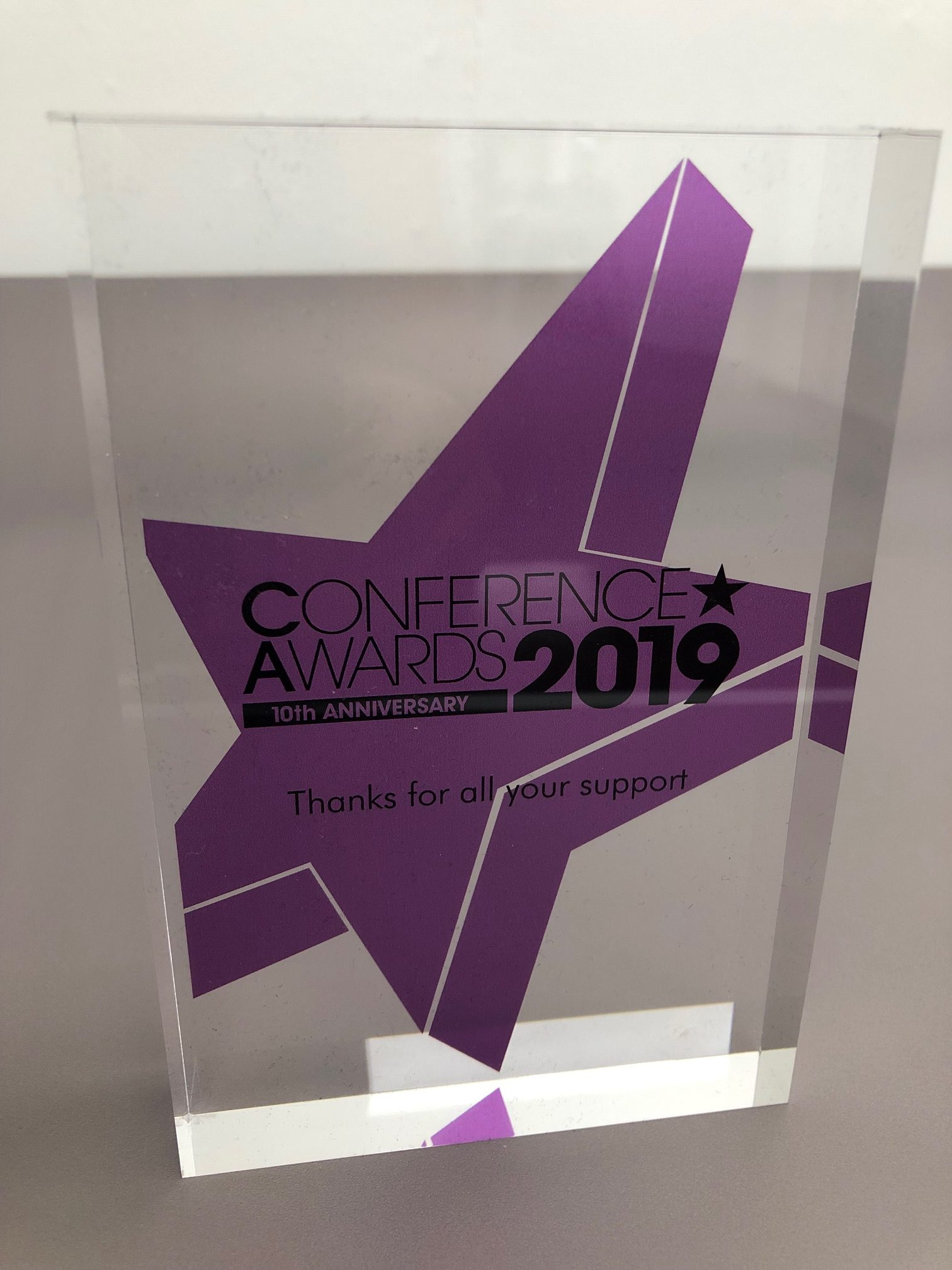 Conference Awards 2019 trophy, awarded to KNP in recognition of 10 years support
